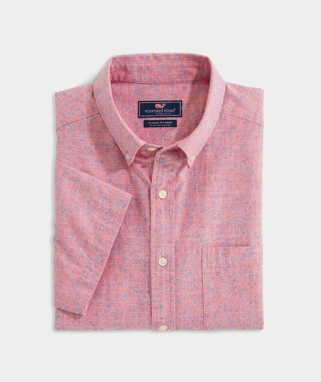 Stretch Cotton Short-Sleeve Floral Print Shirt