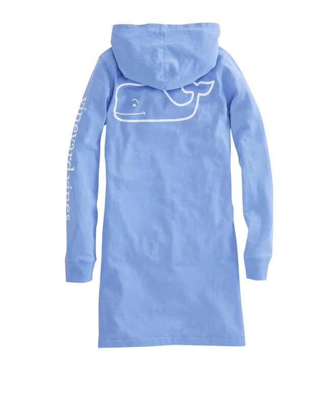 Girls Long-Sleeve Whale Hoodie Pocket Tee Dress