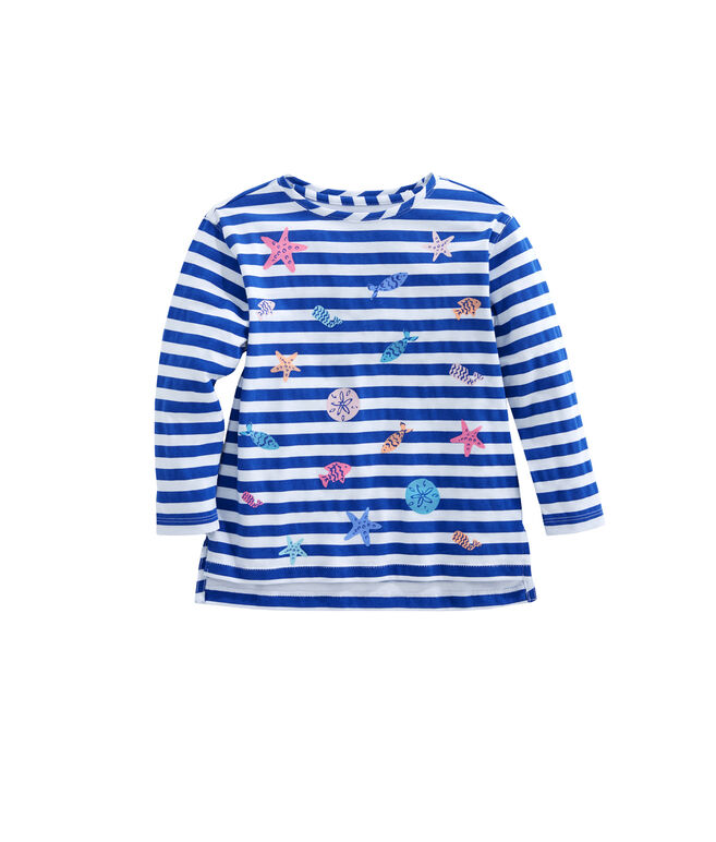 Girls Long-Sleeve Sea Critter & Stripe Tee
