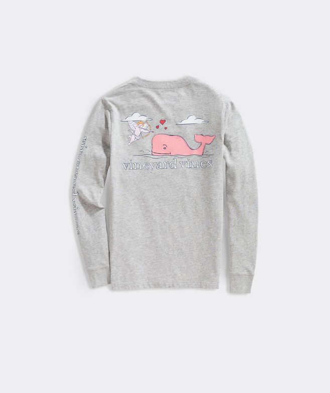 Boys' Love Struck Cupid Whale Long-Sleeve Pocket Tee