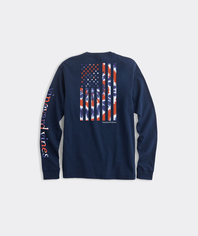 Limited-Edition Tie Dye American Flag Long-Sleeve Pocket Tee