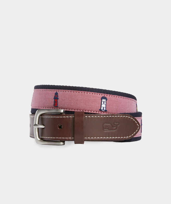 Lighthouse Embroidered Canvas Club Belt