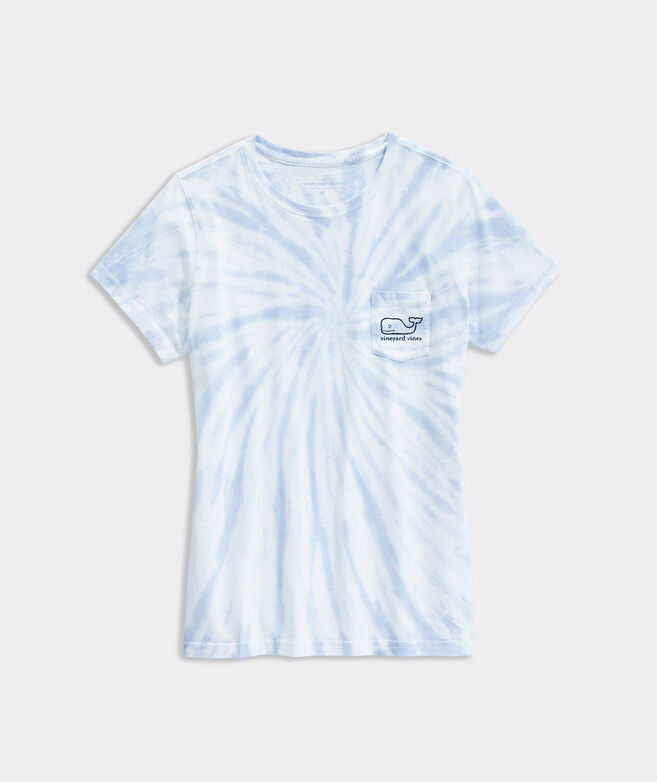 Women's Tie Dye Vintage Whale Short-Sleeve Pocket Tee