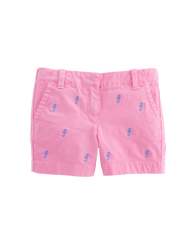 Girls Every Day Seahorse Embroidered Shorts