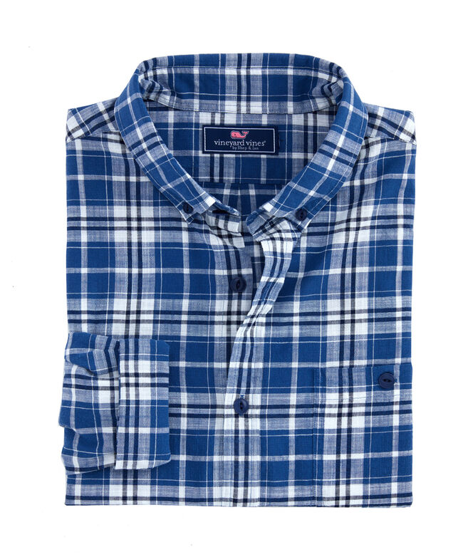 Slim Fit Indigo Plaid Longshore Shirt