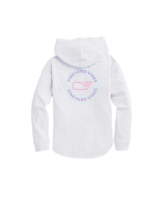 OUTLET Women's Slub Tri Color Whale Dot Hoodie Long-Sleeve Pocket Tee