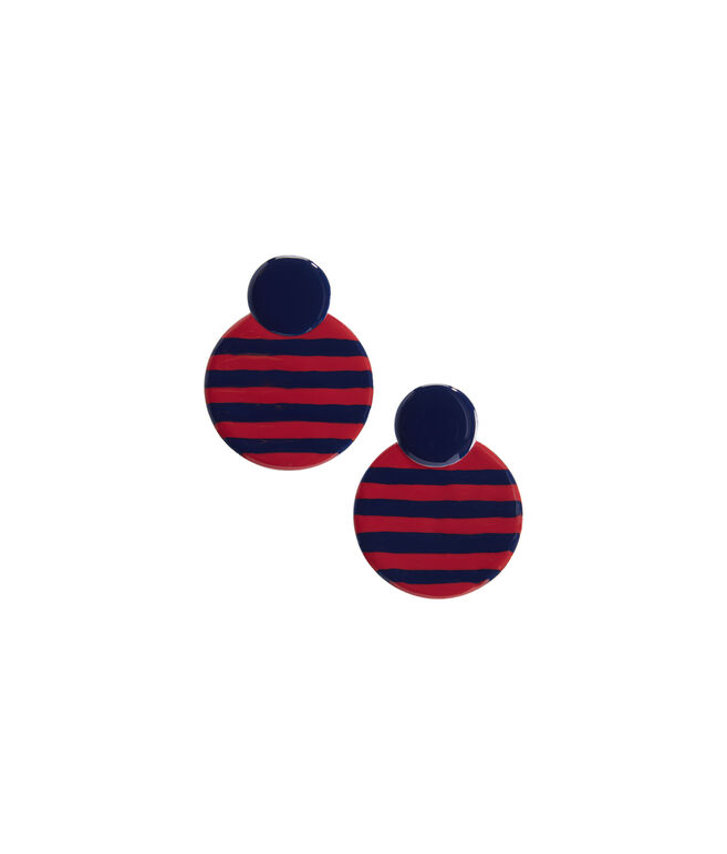 Striped Enamel Round Earrings