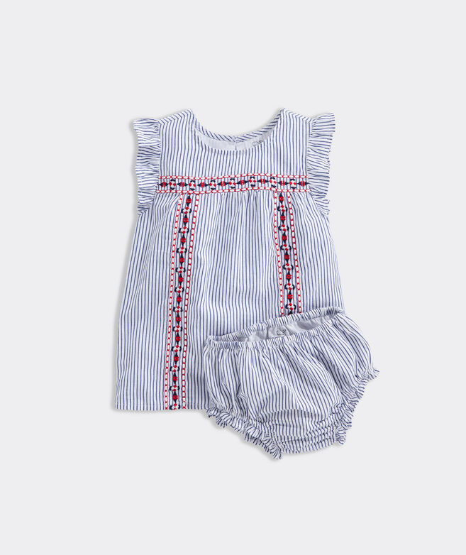 Baby Sparkler Stripe Embroidered Dress Set