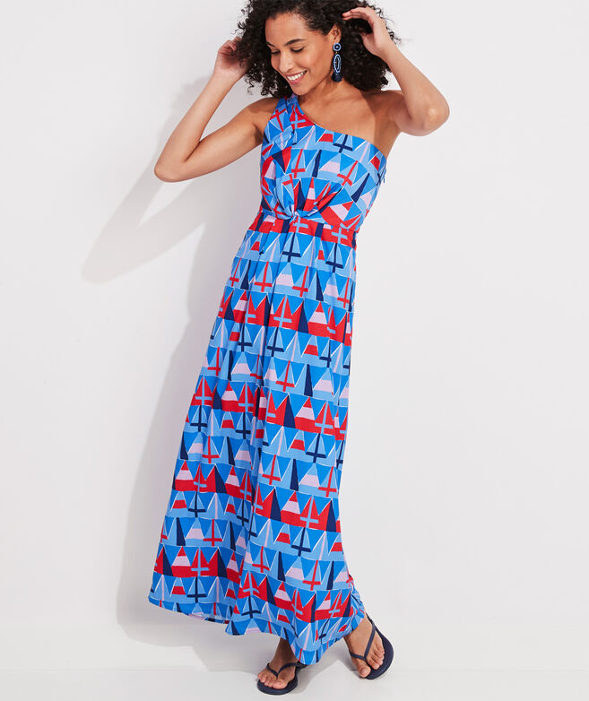 Burgee Print One-Shoulder Maxi Dress