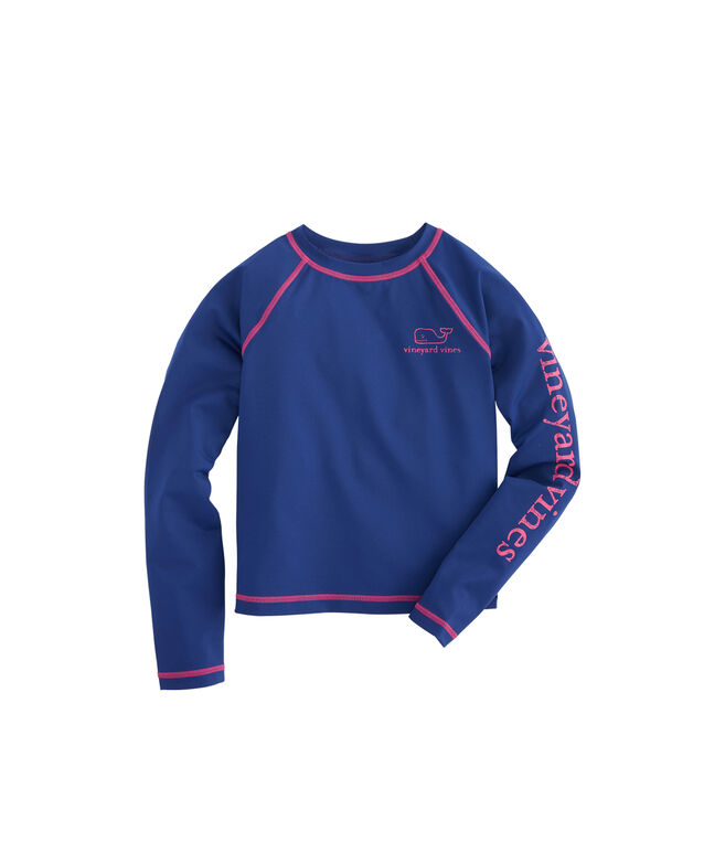 Girls Long-Sleeve Vintage Whale Rash Guard