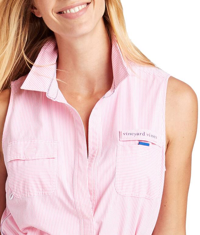 Sleeveless Seersucker Harbor Shirt Cover-Up