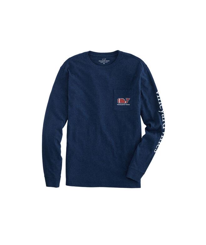 Big & Tall Football Whale Long-Sleeve Pocket T-Shirt