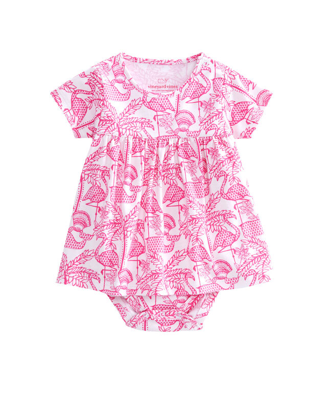 Flamingo Print Onesie Dress