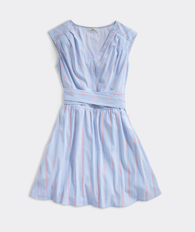 Nicholls Stripe Seersucker Tie-Waist Dress