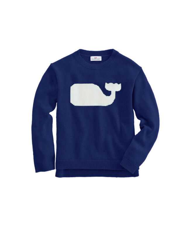 OUTLET Girls' Whale Intarsia Sweater