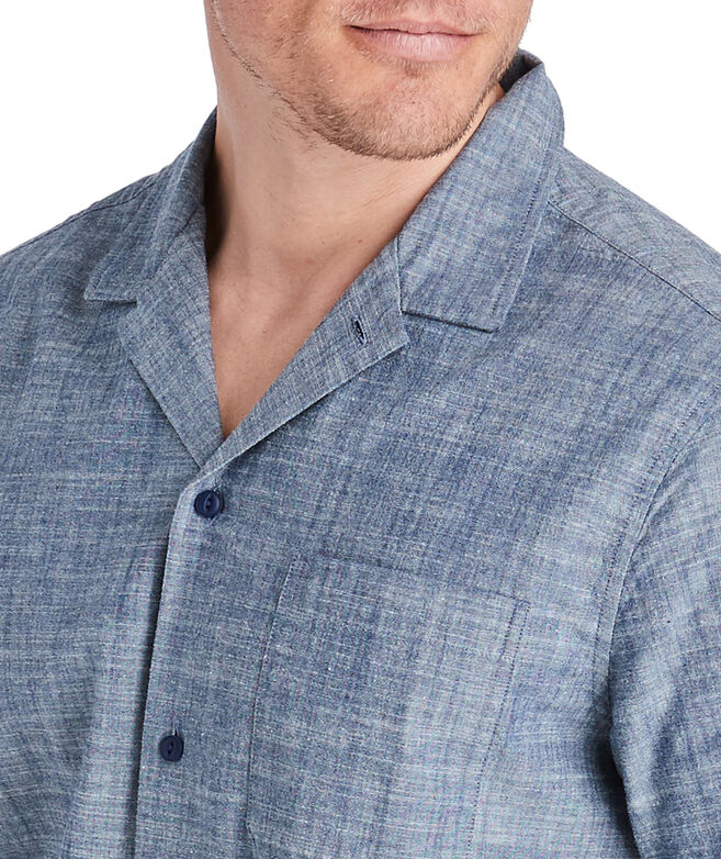 Short-Sleeve Moonshell Chambray Cabana Collar Shirt