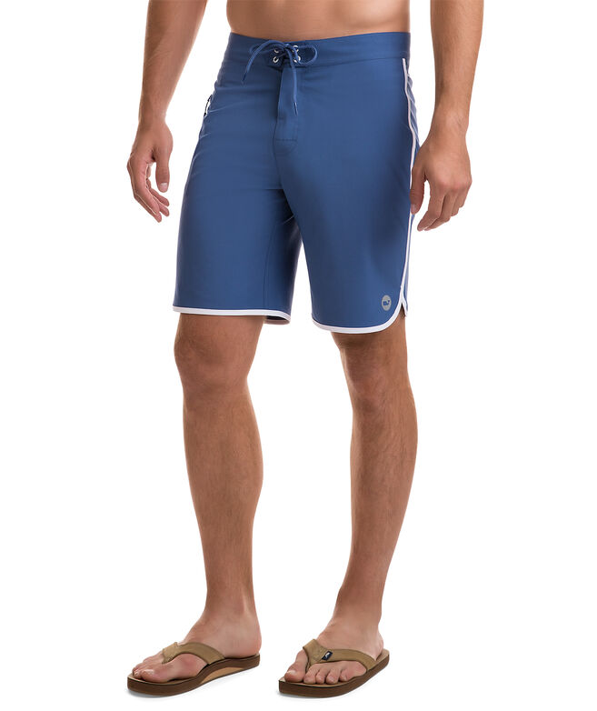 Solid Board Shorts With Contrast Taping