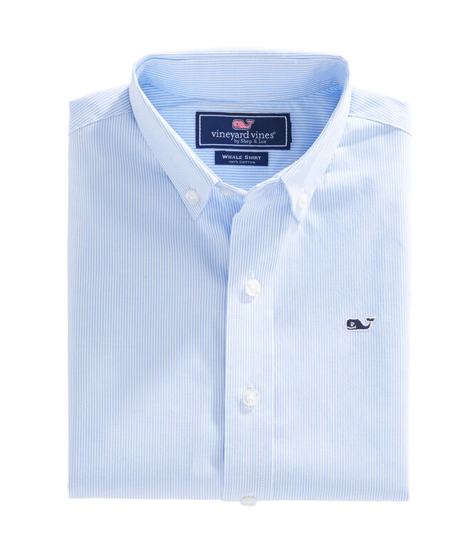 Boys Fine Line Stripe Whale Shirt