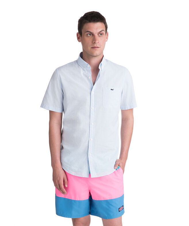 Short-Sleeve Beach Bungalow Slim Tucker Shirt