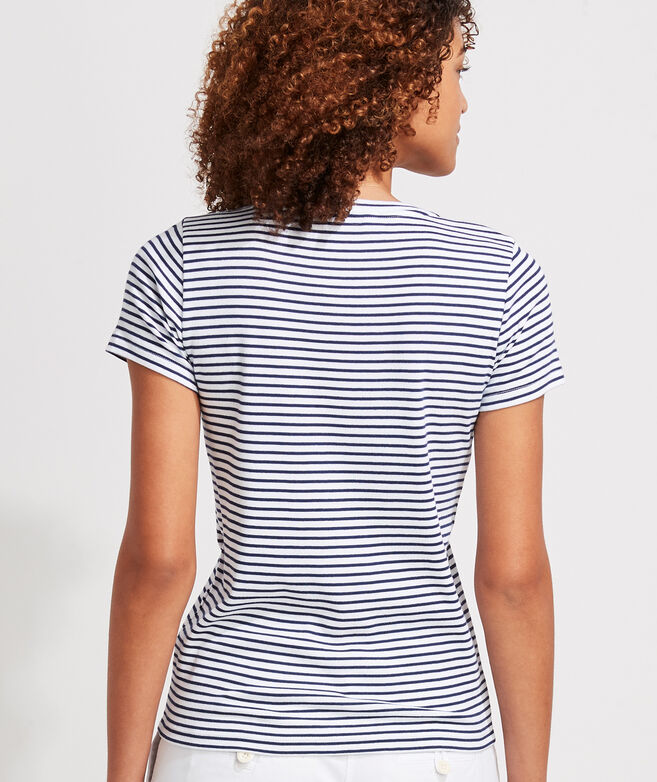 Striped Simple V-Neck Short-Sleeve Tee