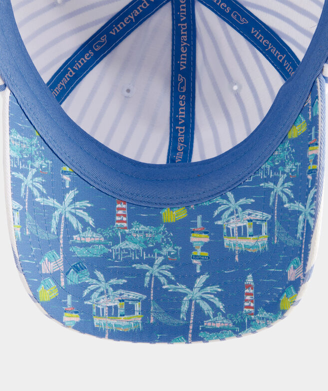 Bahamas Scene Striped Baseball Hat