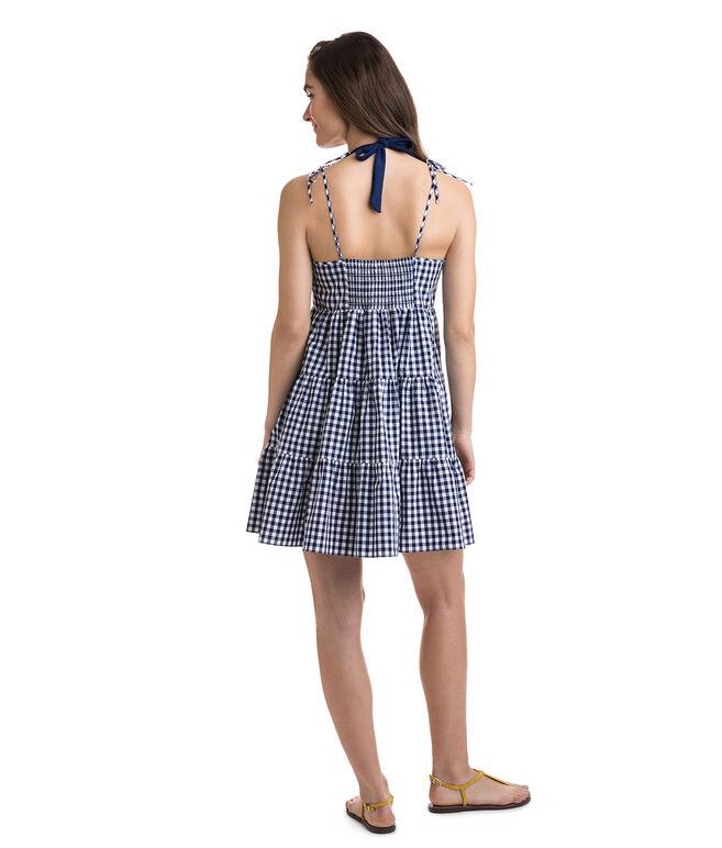 Tiered Gingham Beach Dress