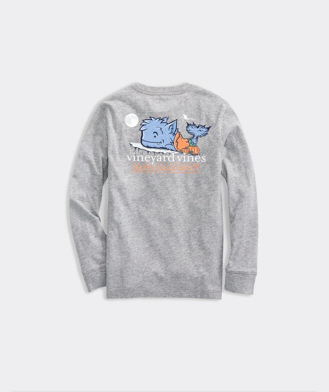 Boys' Halloween Whale-wolf Long-Sleeve Pocket Tee