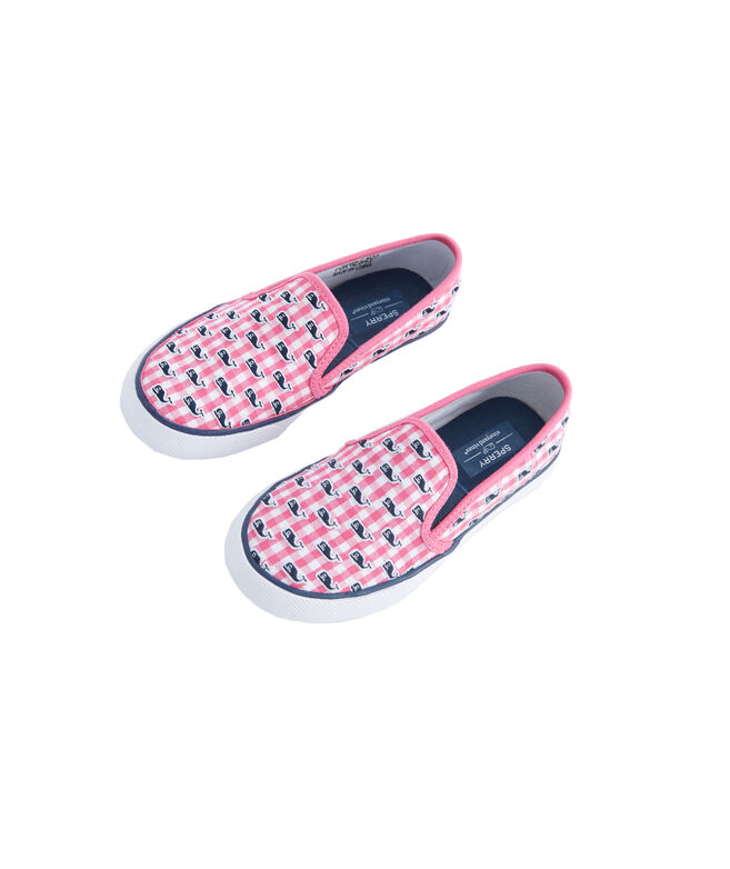 Big Kids Sperry x vineyard vines Embroidered Whale Gingham Seaside Slip-On