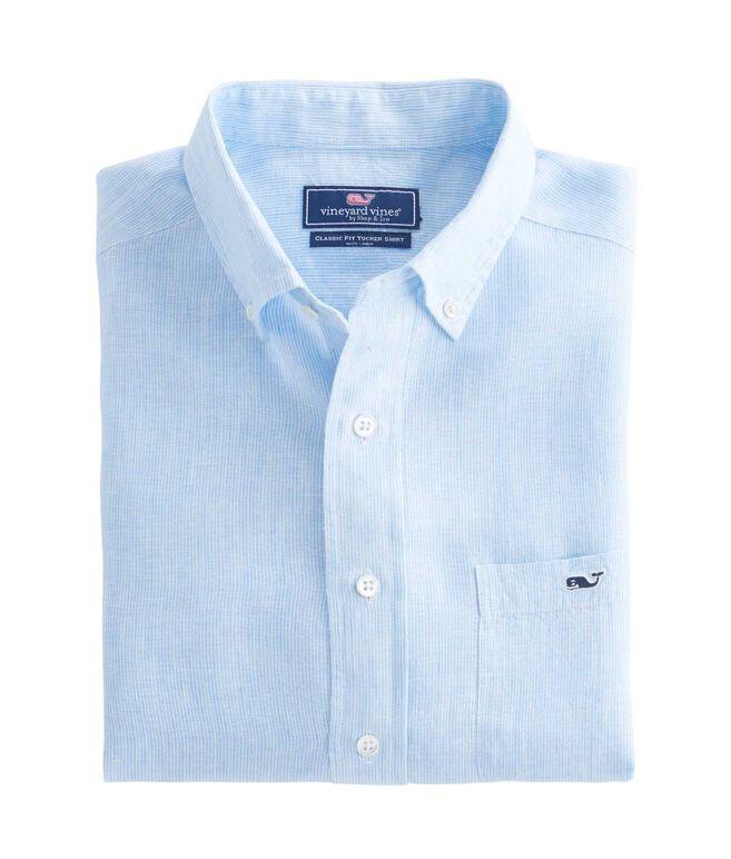 Linen Stripe Classic Tucker Shirt