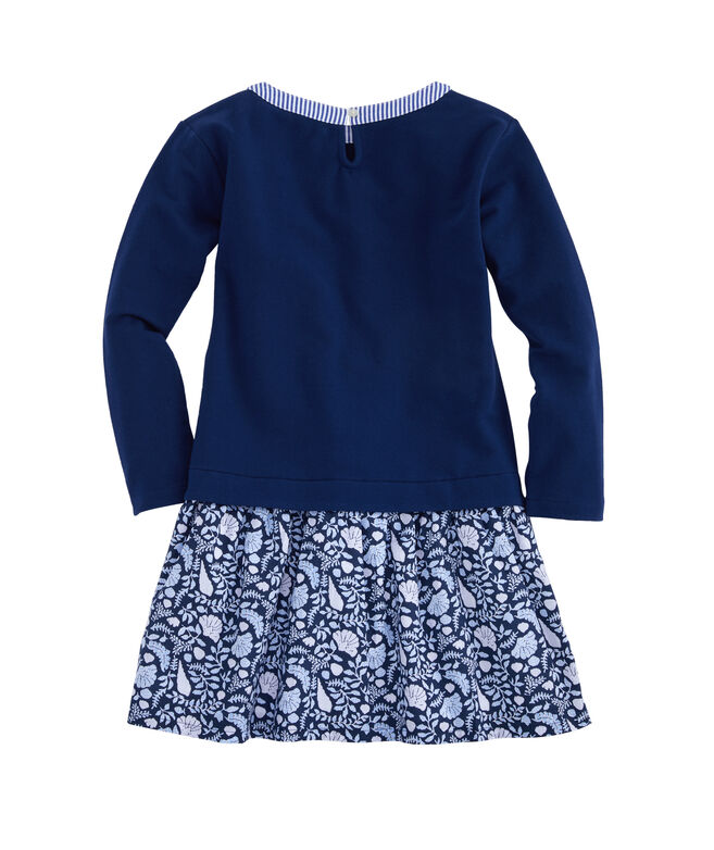 Girls Coastal Flora Sweatshirt Dress