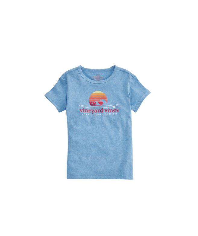 Girls Sunset Surf Heather Ringer Tee