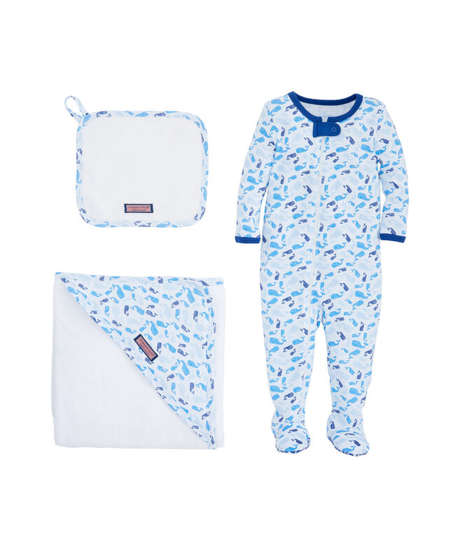 Baby Tossed Whale Bath To Bed Set