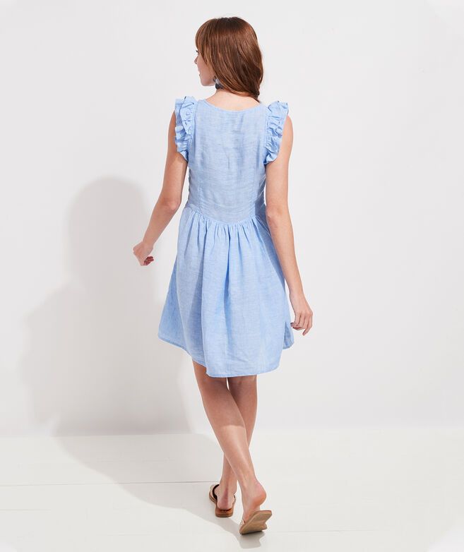 Ruffle Sleeve Linen Dress