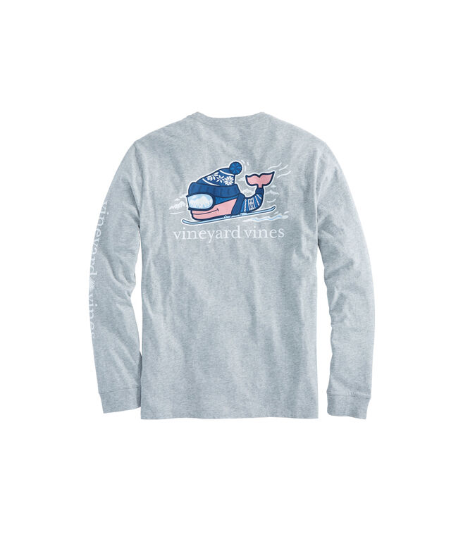 Long-Sleeve Downhill Ski Whale Pocket T-Shirt