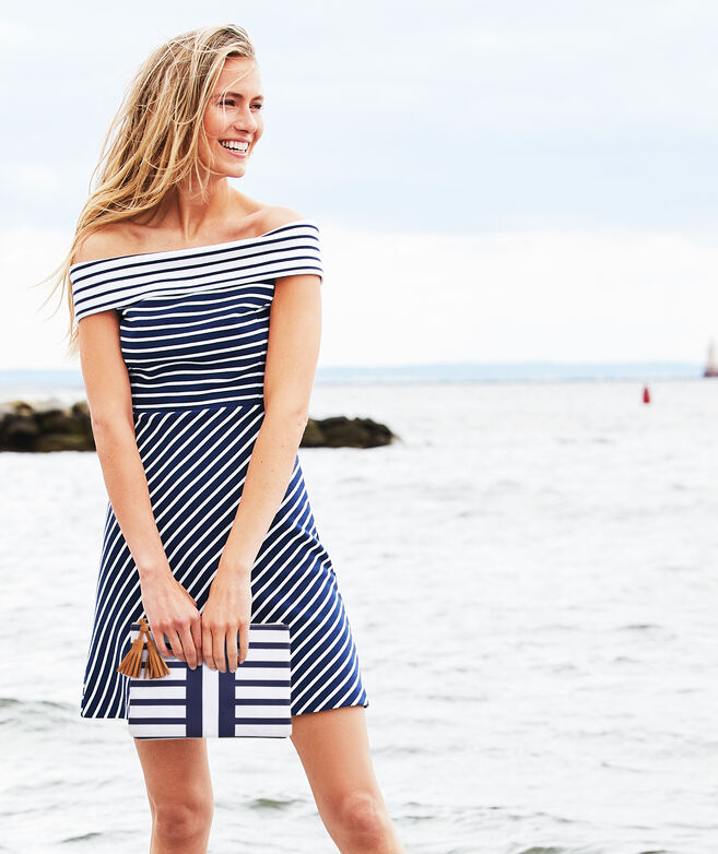 Off The Shoulder Mixed Stripe Dress