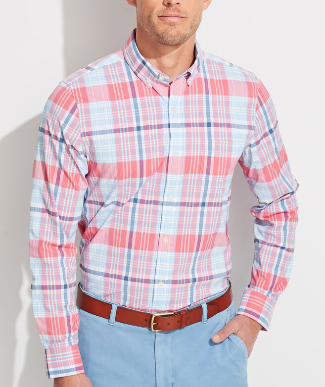 Slim Fit Sandy Plaid On-The-Go Performance Murray Button-Down Shirt
