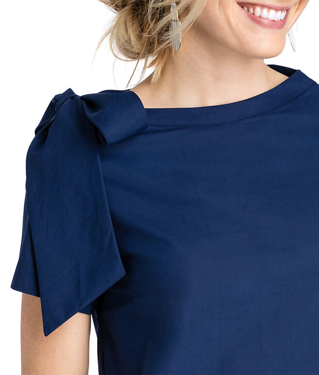 Short-Sleeve Bow Neck Top