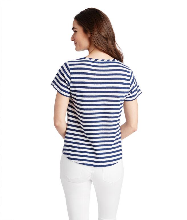 Striped Linen Blend V-Neck Tee