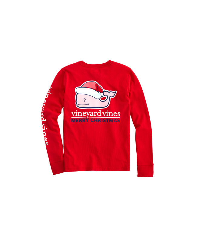 Girls Long-Sleeve Santa Whale Pocket Tee