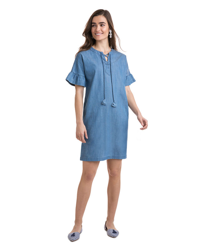 Chambray Flutter Sleeve Lace Up Dress