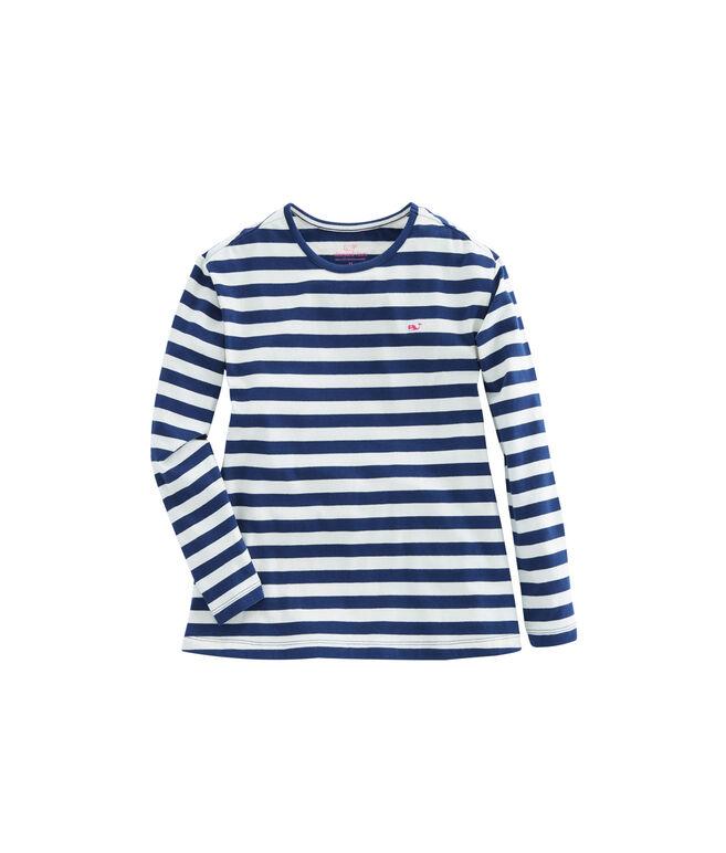 Girls Long-Sleeve Stripe Knit Top