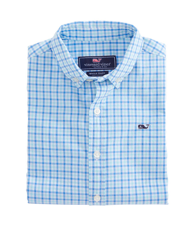 Boys Point Gammon Gingham Whale Shirt