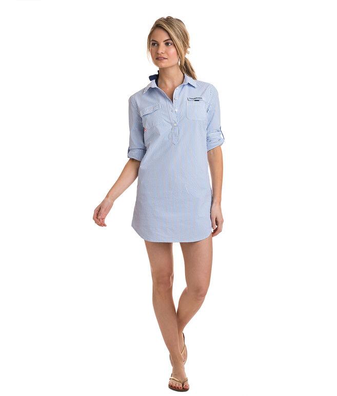 Seersucker Harbor Shirt Cover-Up