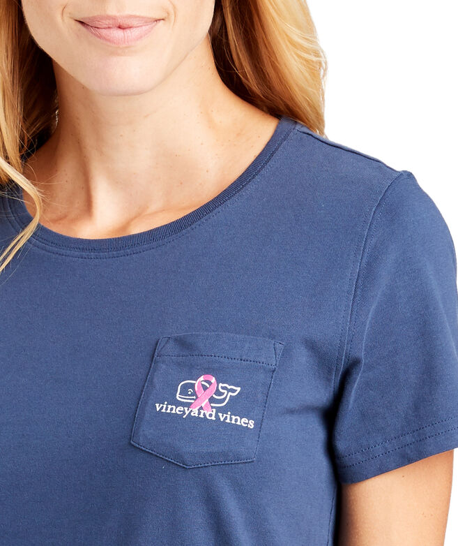 Womens Short-Sleeve Breast Cancer Awareness Whale Ribbon Pocket Tee
