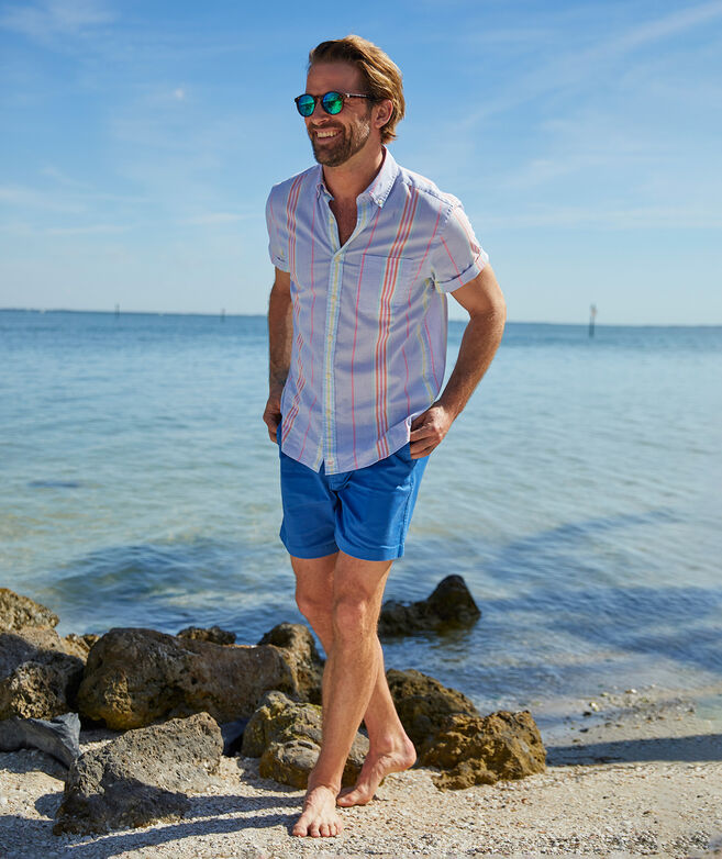Classic Fit Stripe Short Sleeve Shirt in Stretch Cotton