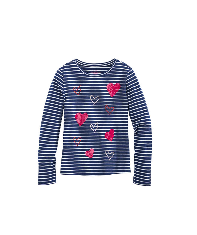 Girls Flip Sequins Heart Long-Sleeve Tee