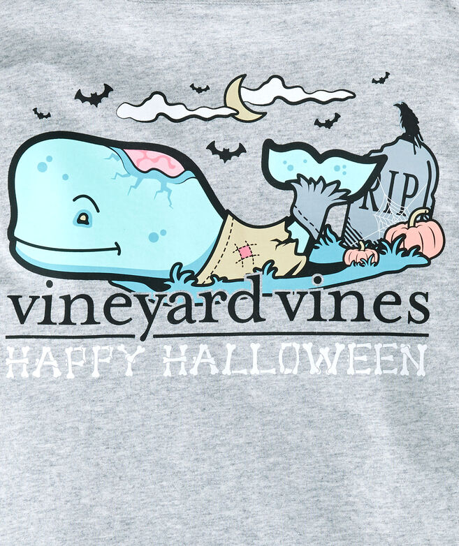 Boys Halloween Zombie Whale Long-Sleeve Pocket T-Shirt