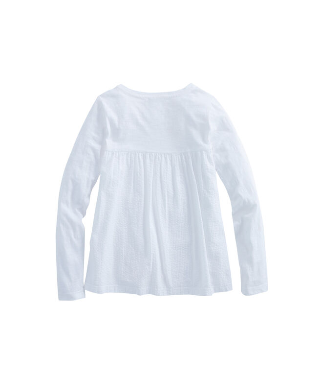 Girls Long-Sleeve Seersucker Knit Top