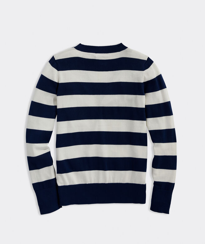 Striped Heritage Cotton V-Neck Sweater