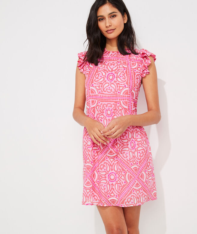 Island Scarf Print Ruffle Dress